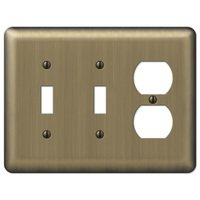 Amerelle Wallplates - Devon - Double Toggle Single Duplex Combo Wallplate in Brushed Brass
