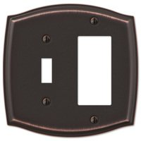 Amerelle Wallplates - Sonoma - Single Toggle Single Rocker Combo Wallplate in Aged Bronze