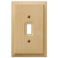 Amerelle Wallplates - Baker - Single Toggle Wallplate in Unfinished Alder Wood