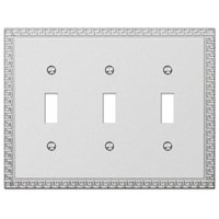 Amerelle Wallplates - Greek Key - Triple Toggle Wallplate in Frosted Chrome