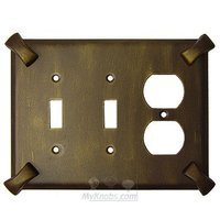 Anne at Home - Hammerhein - Hammerhein Switchplate Combo Duplex Outlet Double Toggle Switchplate in Pewter Matte
