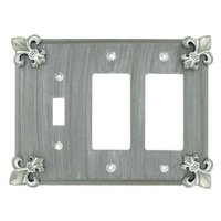 Anne at Home - Fleur De Lis - Fleur De Lis 1 Toggle/2 Rocker Switchplate in Pewter Matte