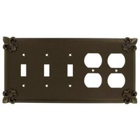 Anne at Home - Fleur De Lis - Fleur De Lis 3 Toggle/2 Duplex Outleet Switchplate in Pewter Matte