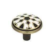 "Atlas Homewares - Canterbury - 1 1/2"" Knob in Black and White Enamel on Burnished Brass"