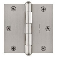 "Baldwin Hardware - Reserve Door Accessories - 3 1/2"" Square Corner Door Hinge in Satin Nickel"