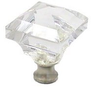 Cal Crystal - Crystal Knob - Beveled Square Knob in Polished Brass