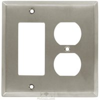 Colonial Bronze - Square Bevel - Square Bevel Combo GFI/ Duplex Outlet Switchplate in Satin Nickel