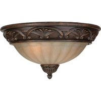 "Craftmade - Barcelona Lighting - 16"" Flush Mount Light in Aged Bronze with Tea Stained Glass"