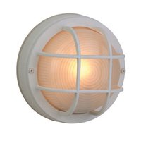 "Craftmade - Exterior Bulkhead Lighting - 8"" Diameter Flush Mount Exterior Light in Matte White with Frosted Halophane Glass"