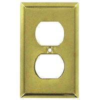 Deltana Hardware - Solid Brass Switchplates - Solid Brass Single Duplex Outlet Switchplate in PVD Brass