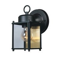 "Designers Fountain - Basic Porch - 5"" Wall Lantern in Black with Clear"
