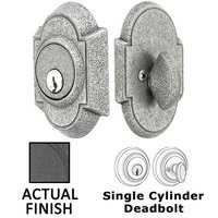 Emtek Hardware - Wrought Steel - Wrought Steel #1 Single Cylinder Deadbolt in Flat Black Steel