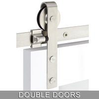 Emtek Hardware - Flat Track Sliding Barn Door Hardware - Classic Face Mount 10' Track with Solid Wheel & Flat Fastener for Double Doors in Brushed Stainless Steel