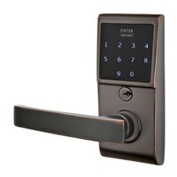 Emtek Hardware - Electronic Locksets - Geneva Left Hand Emtouch Storeroom Lever with Electronic Touchscreen Lock in Oil Rubbed Bronze