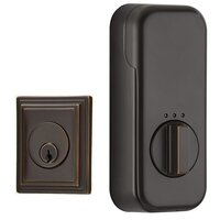 Emtek Hardware - EMPowered Deadbolts - Empowered Wilshire Single Cylinder Deadbolt Connected by August in Flat Black