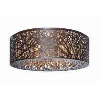 ET2 Lighting - Inca - Flush Mount in Bronze with Cognac Glass