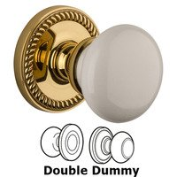 Grandeur Door Hardware - Newport - Privacy Knob - Newport Rosette with Hyde Park White Porcelain Knob in Satin Nickel