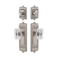 Grandeur Door Hardware - Windsor - Windsor Plate With Baguette Crystal Knob & Matching Deadbolt In Satin Nickel