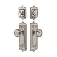 Grandeur Door Hardware - Windsor - Windsor Plate With Soleil Knob & Matching Deadbolt In Satin Nickel