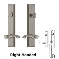 Grandeur Door Hardware - Fifth Avenue Tall Plate Handlesets - Tall Plate Handleset with Portofino Left Handed Lever in Satin Nickel