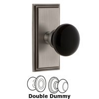 Grandeur Door Hardware - Carre - Privacy - Carre Rosette with Black Coventry Porcelain Knob in Satin Nickel