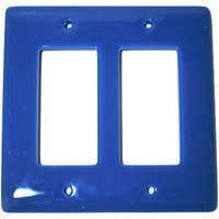 Hot Knobs - Solids Switchplates - Double Rocker Glass Switchplate in Egyptian Blue