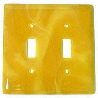 Hot Knobs - Swirls Switchplates - Double Toggle Glass Switchplate in Amber Swirl