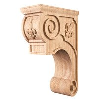 "Hardware Resources - Corbels and Bar Brackets - 6 3/8"" x 11 3/4"" x 8"" Fleur-De-Lis Traditional Corbel in Rubberwood Wood"