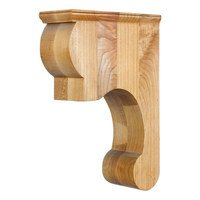 "Hardware Resources - Corbels and Bar Brackets - 3 3/8"" x 11 3/4"" x 8"" Fleur-De-Lis Traditional Corbel with Smooth Surface Design in Alder Wood"