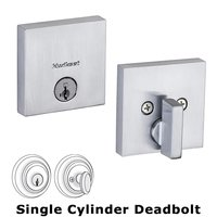 Kwikset Door Hardware - Downtown Square - Single Cylinder Deadbolt in Satin Chrome