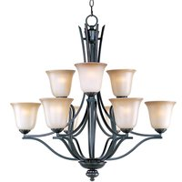"Maxim Lighting - Madera - 32"" 9-Light Multi-Tier Chandelier in Oil Rubbed Bronze with Wilshire Glass"