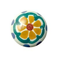"Richelieu Hardware - Country Style Expression XIII - 1 1/2"" Diameter Painted Ceramic Knob in Orange Flower"