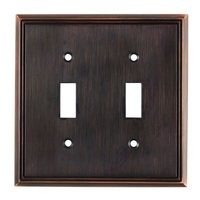 Richelieu Hardware - Switchplates - Contemporary Double Toggle in Brushed Oil Rubbed Bronze