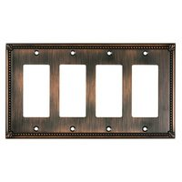 Richelieu Hardware - Switchplates - Traditional Quadruple GFI/Rocker in Brushed Oil Rubbed Bronze