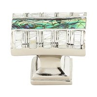 Schaub and Company - Fair Isle - Solid Brass Rectangle Knob in Polished Nickel with Imperial Shell and Mother of Pearl