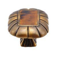 Schaub and Company - Tiger Penshell - Rectangle Knob with Penshell Inlaid on Solid Brass in Estate Dover with Tiger Penshell