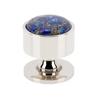 "Vesta - Firesky - 1 3/8"" Round Mohave Lapis Knob in Brushed Satin Nickel"